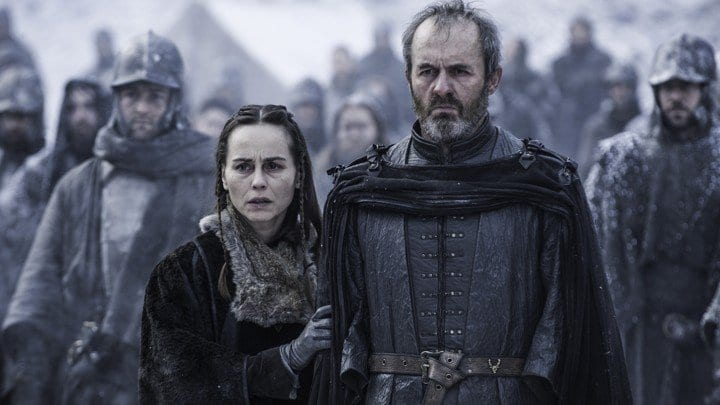Stanis Baratheon (Stephen Dillane) and wife Sylese (Tara Fitzgerald) watch as their daughter burns as a sacrifice to the God of Light.