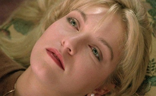 Laura Palmer looks up at the ceiling imaging herself falling through space