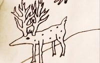 a doodle of a deer like speckled animal by david lynch