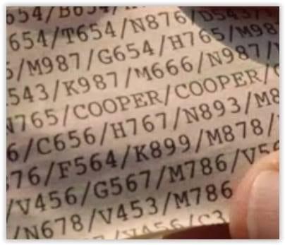 Cooper Cooper Cooper printed message
