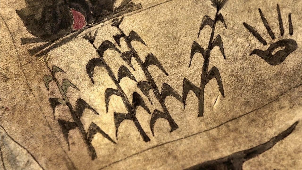 Black corn, a black hand or turkey painted on Hawks map