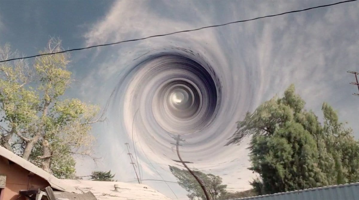 a vortex in the sky in Buckhorn above the pink bungalow