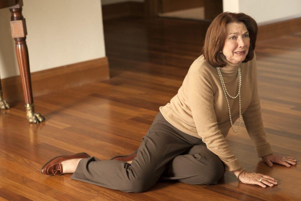 Sylvia Horne crying on the floor