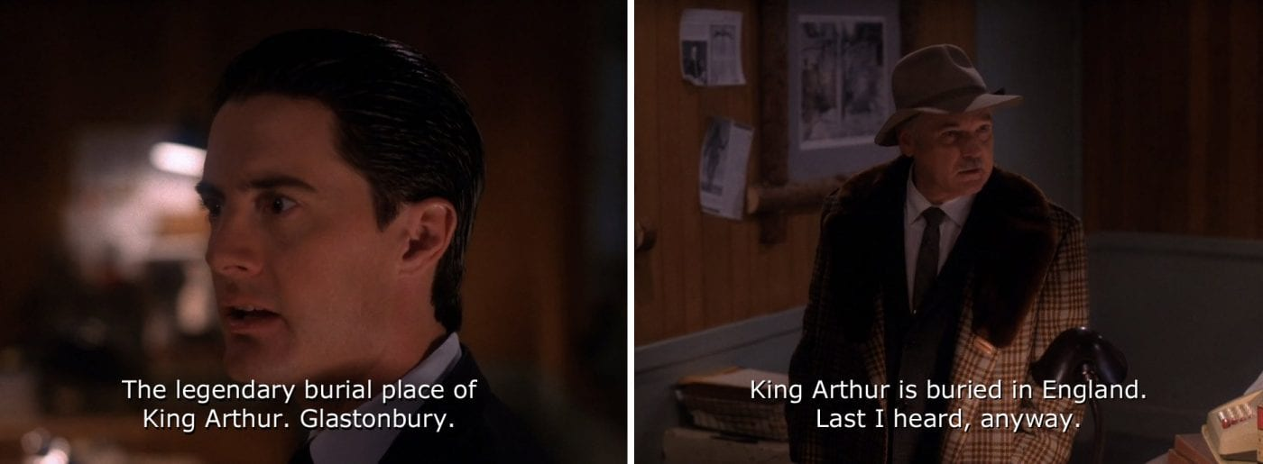 screenshots from Twin Peaks, Agent Cooper and Pete Martell talk about King Arthur's burial place