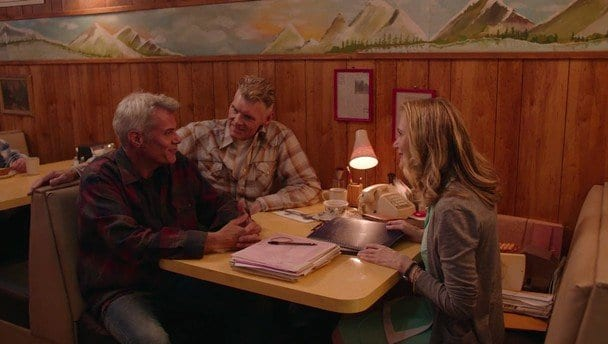 Bobby, Ed and Norma around a table at the RR diner