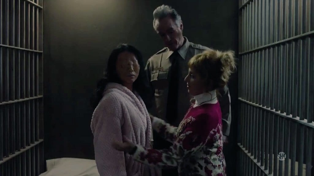 Andy and Lucy take care of Naido in a Twin Peaks police cell