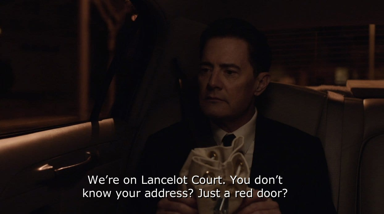 Dougie Jones is chauffeured home to Lancelot Court in Twin Peaks