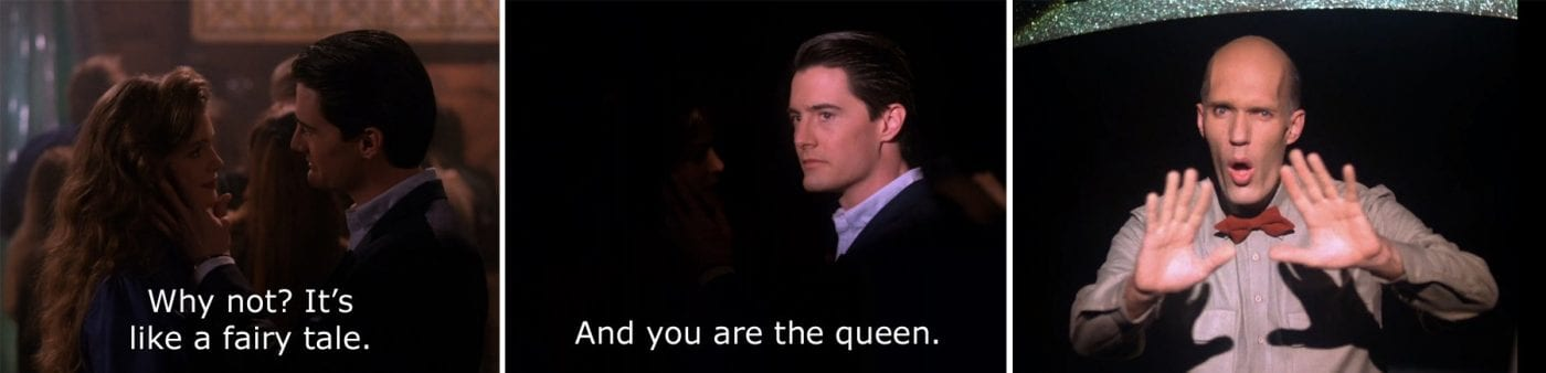 Annie and Dale Cooper discuss her being the queen and the Giant gestures 'no'