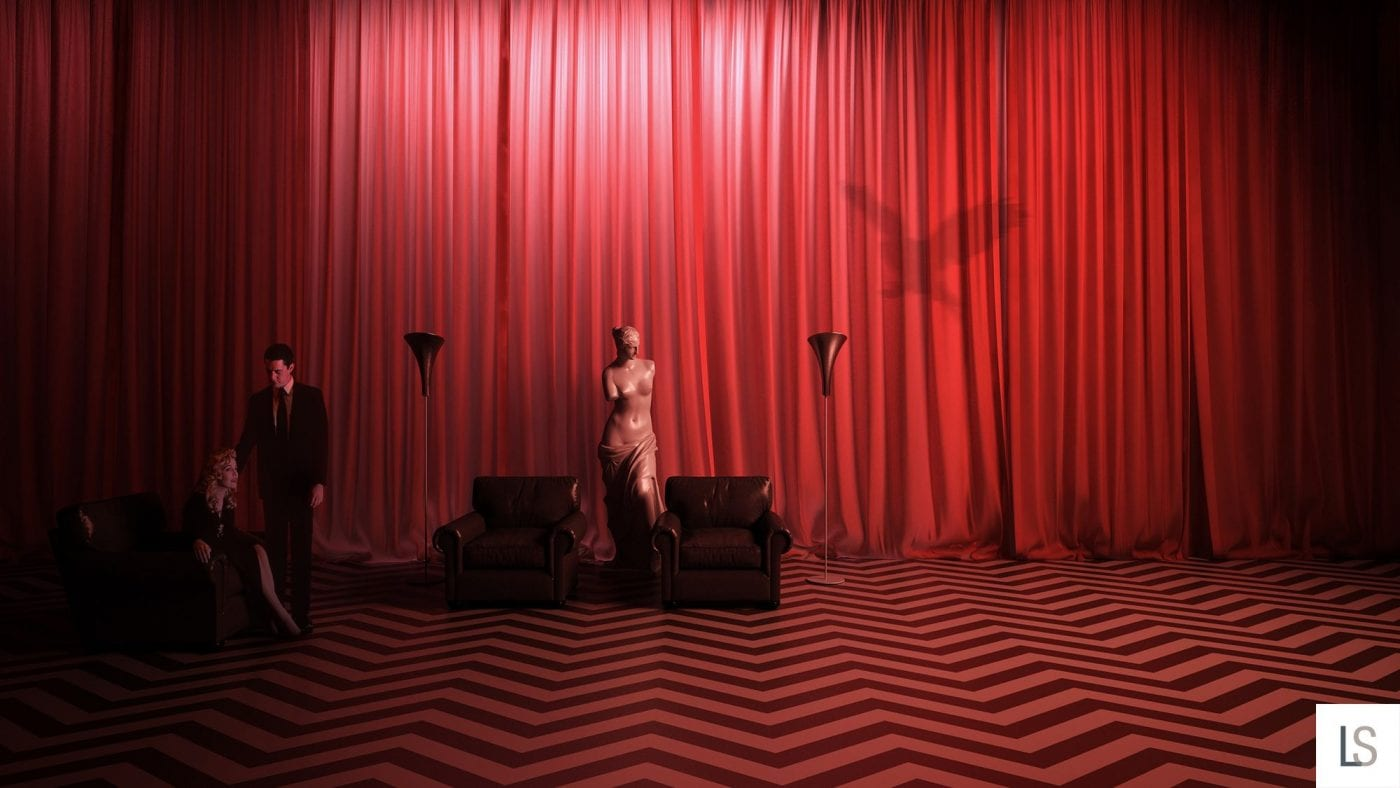 The Black Lodge, Dale stands by Laura in her chair, as a birds shadow appears on the curtains