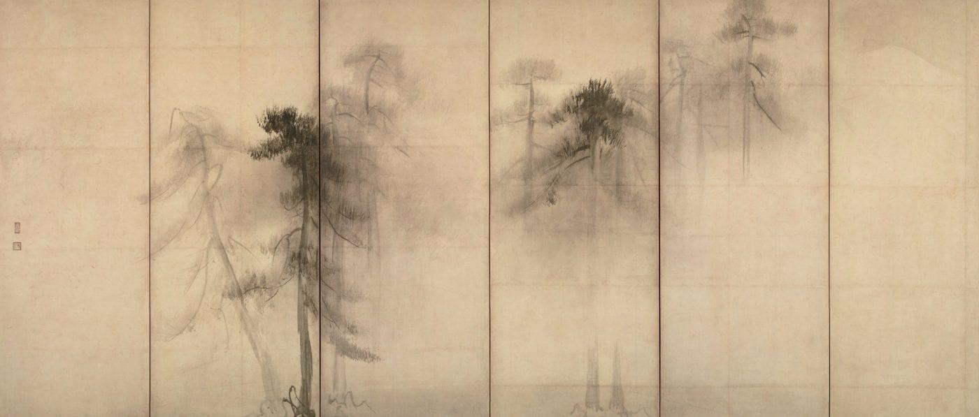 Hasegawa_Tohaku_-_Pine_Trees_(Shōrin-zu_byōbu)_-_left_hand_screen