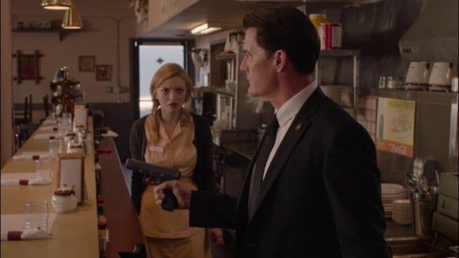 Cooper raises his gun in Judy's diner Odessa