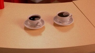two cups of hot black coffee
