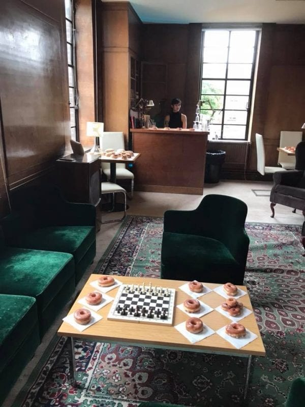 Bar with donuts and chess