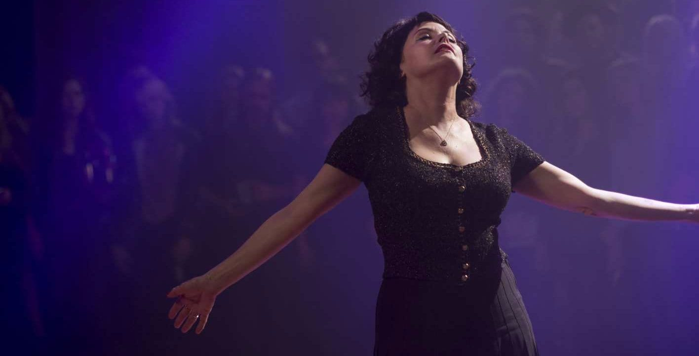 still image of sherilyn fenn as audrey horne dancing in the Roadhouse in Twin Peaks: The Return