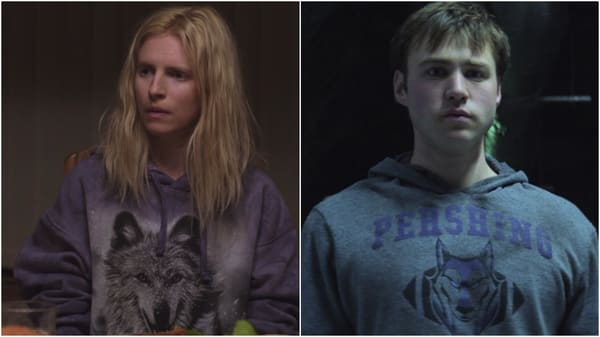 Prairie and Homer both wear lilac hoodies with wolf motif