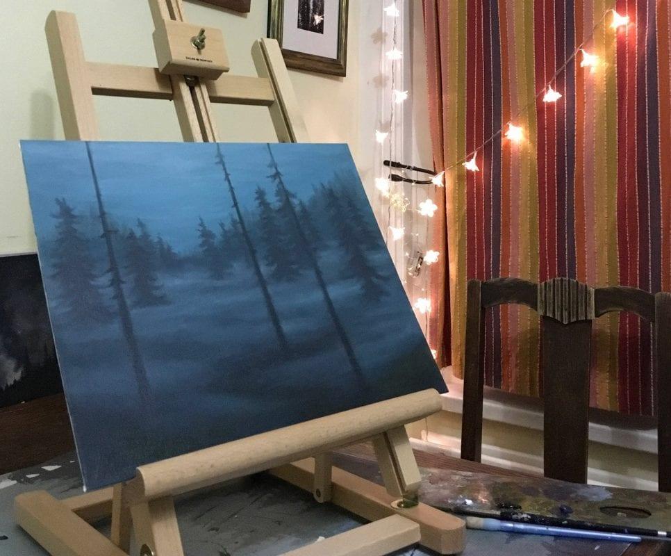 Forest scene in progress - Copyright Jess Purser