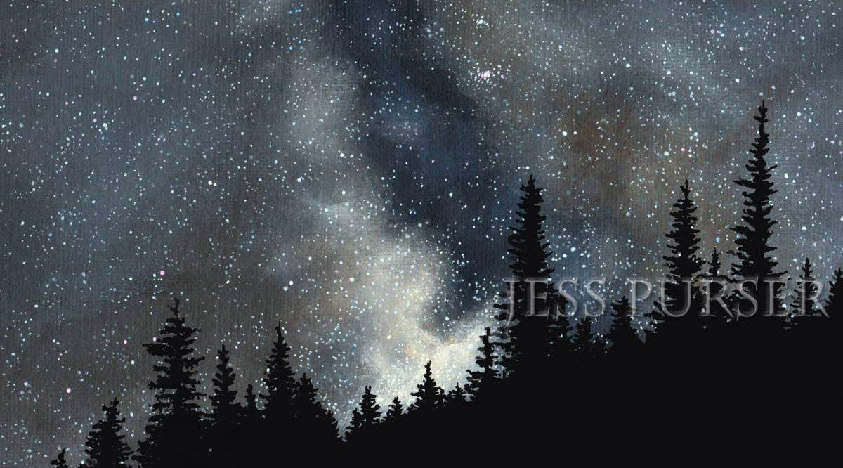 Art by Jess Purser, fir trees in the starry sky