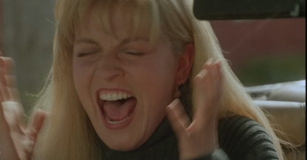 Sheryl Lee screams in a scene of Fire Walk With Me
