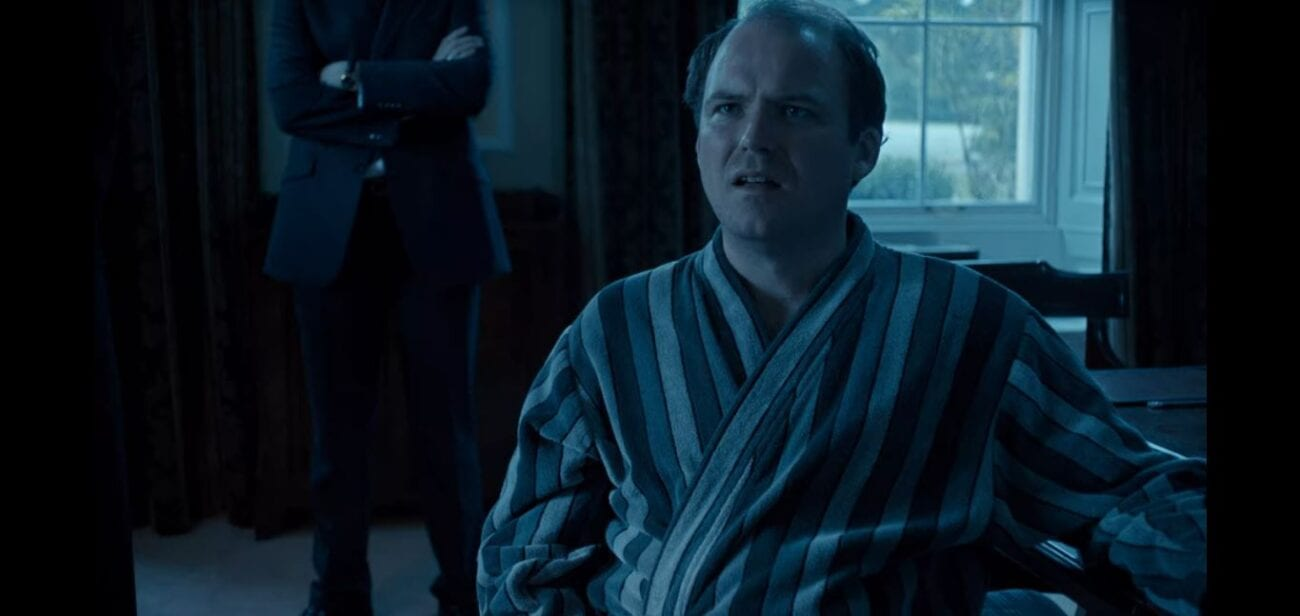 "The Prime Minister in a bathrobe with a disgusted look on his face in Black Mirror ""The National Anthem"""