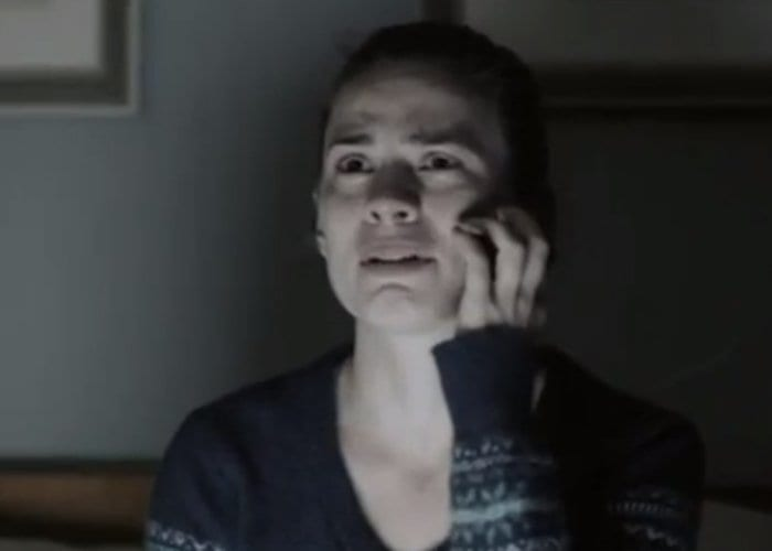 Hayley Atwell looks pained while on the phone in Be Right Back