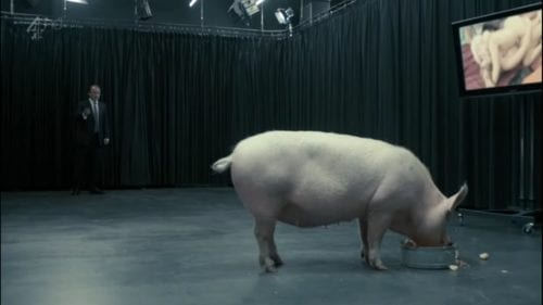 Rory Kinnear enters a room wherein a pig is eating