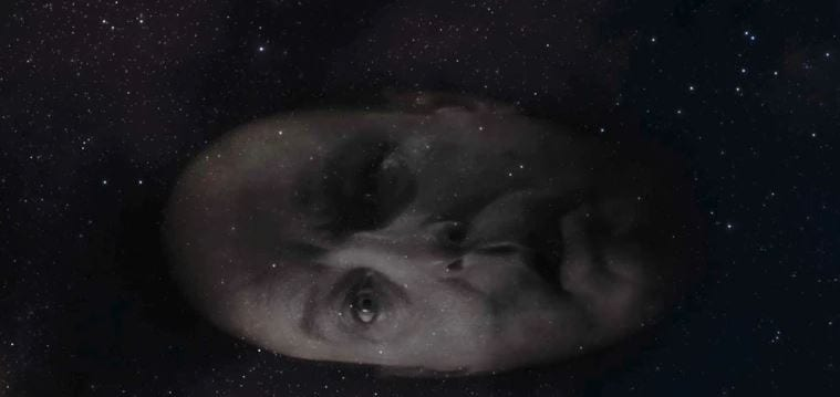 Major Briggs giant head floats past in the stars