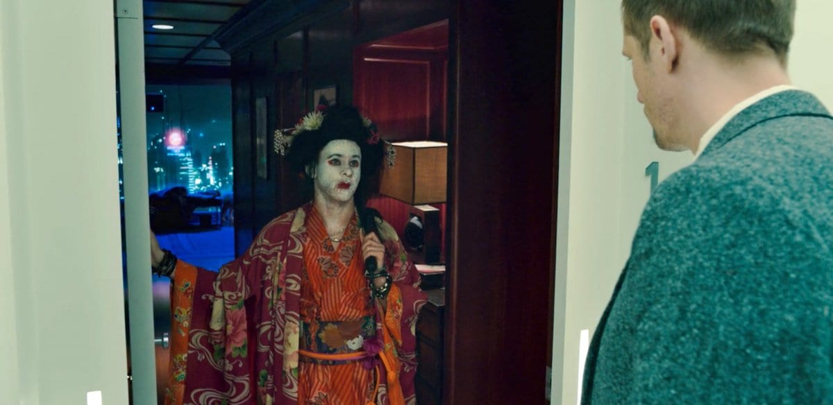 Dominic Monaghan, playing Oswald, dressed as a Geisha