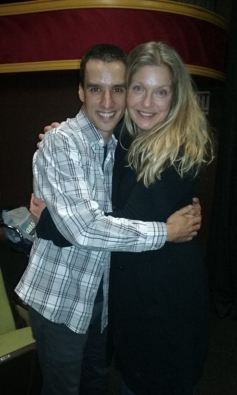 Ivan hugging actress Sheryl Lee