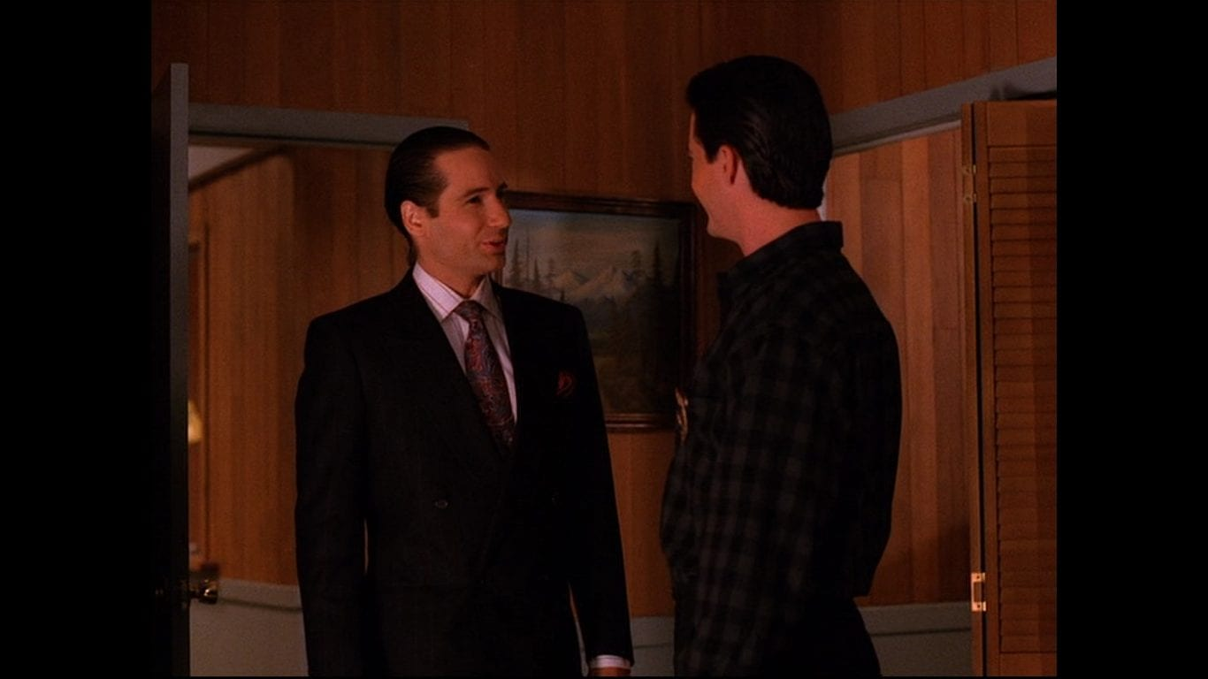 David Duchovny as Denise Bryson in disguise as Dennis Bryson with Agent Cooper