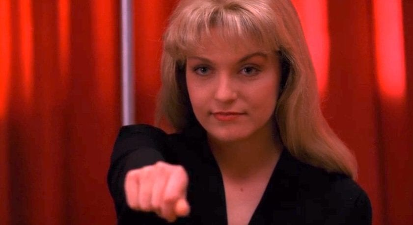 Laura Palmer points at cooper in the red room