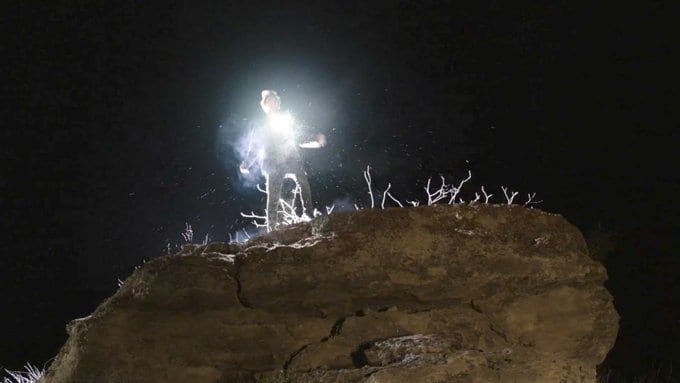 Richard Horne is electrified on a rock