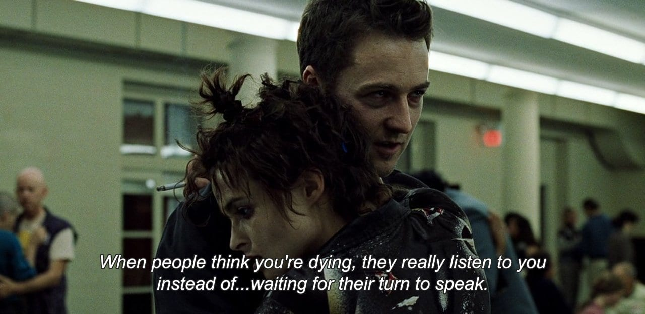 Ed Norton and Helena Bonham Carter in Fight Club