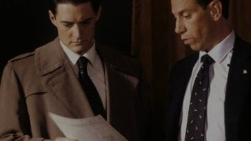Albert Rosenfield and Dale Cooper look at documents
