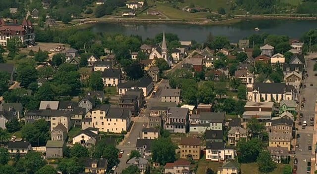 The town of Haven from the air, in the TV series