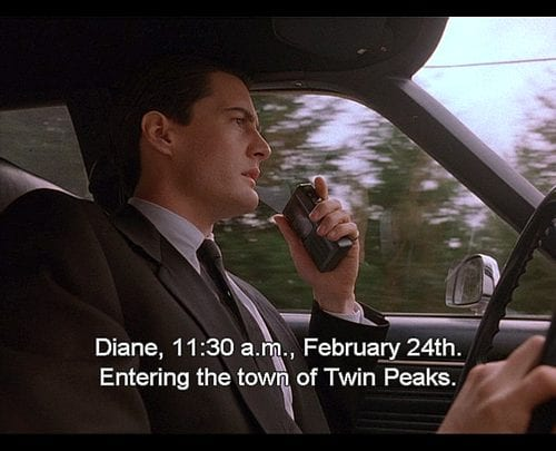 Diane 11.30am Feb 24th entering the town of Twin Peaks