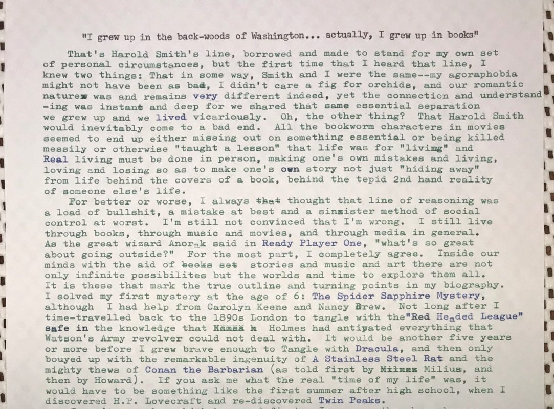 Karl's typewritten notes that accompanied his emailed Living Novel responses