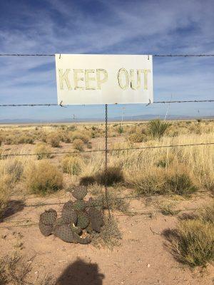 Keep Out sign near Trinity Site