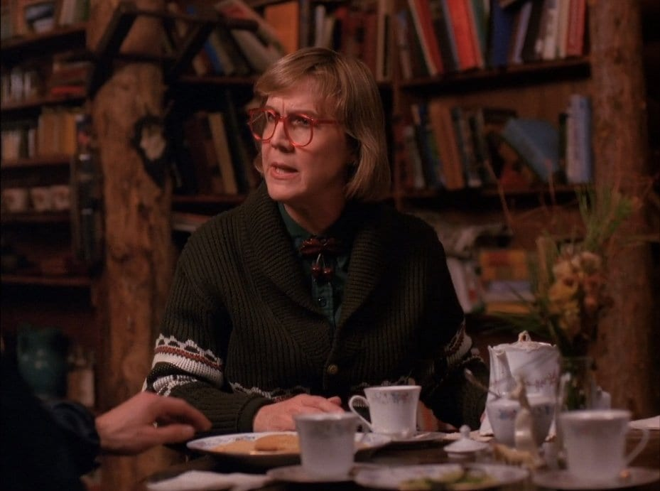 the log lady provides tea and biscuits in her cabin