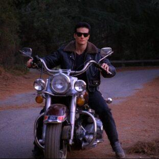 James Hurley on his motorbike in Twin Peaks