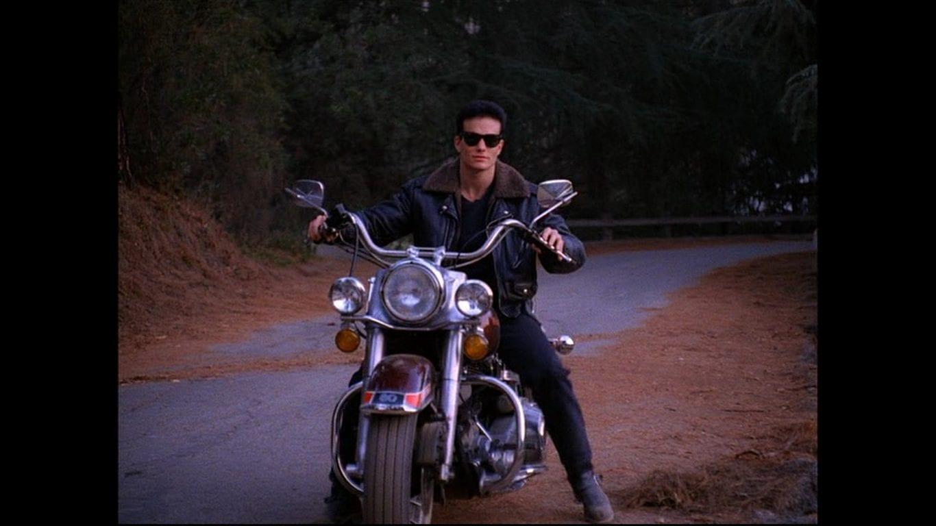 James Hurley rides a Harley Davidson