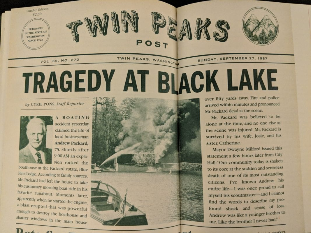 "Photo of the book that outlines a Twin Peaks Post article about Andrew Packard's ""death"""