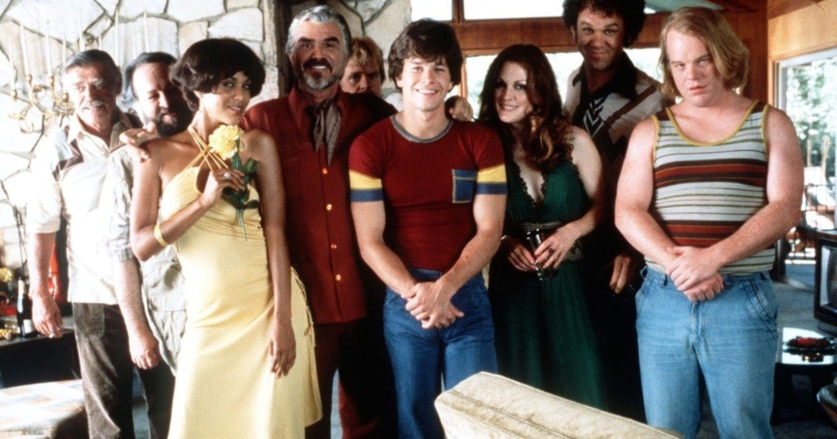 The cast of Boogie Nights  smiling