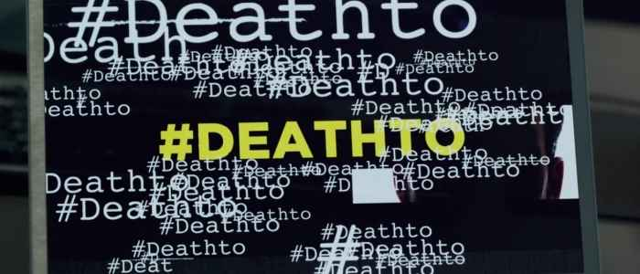 A computer screen is filled with #deathto in different fonts