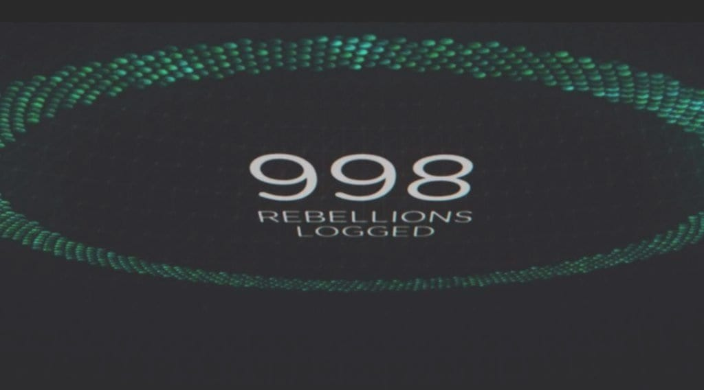 998 Rebellions Logged appears within a large circle on a black background
