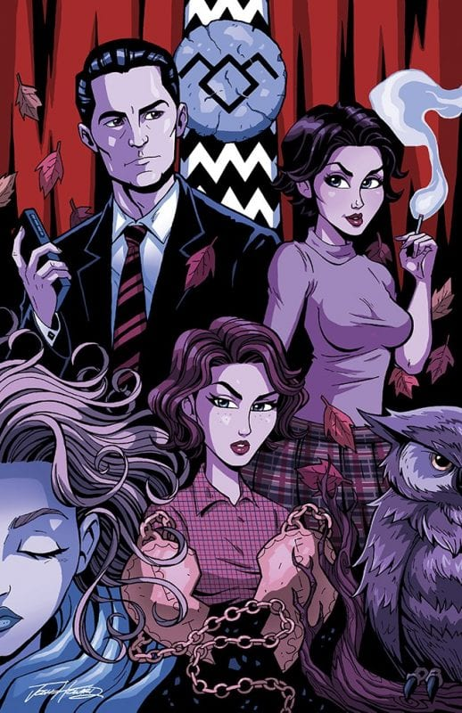 A montage of Twin Peaks characters and objects in comic art style: Cooper, Audrey, Laura, Donna, an owl