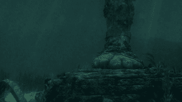 There is a statue foot at the bottom of the ocean