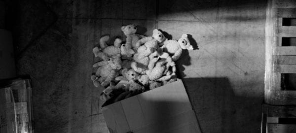 Stuffed white bears have spilled from a box on the floor of a warehouse