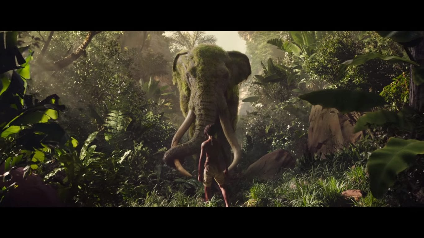An elephant goes head to head with Mowgli in the Jungle Book movie