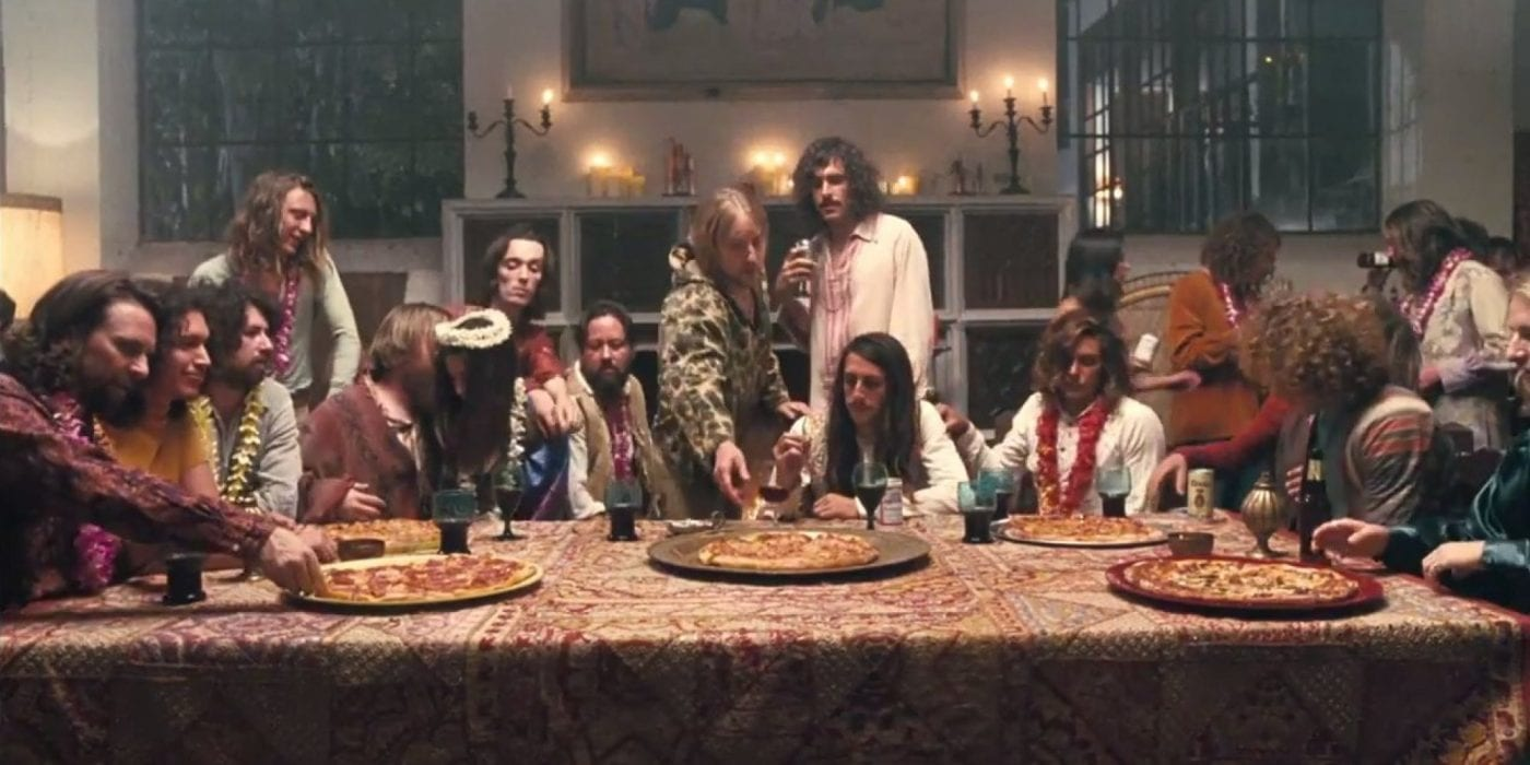 An image akin to the Last Supper but with pizza and hippies, Inherent Vice