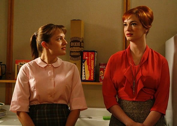 Peggy and Joan have a heart to heart in the washroom in Mad Men